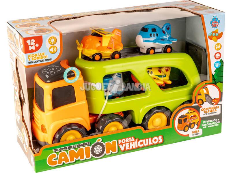 Camión Portavehículos con 4 Aviones, Luz y Sonido