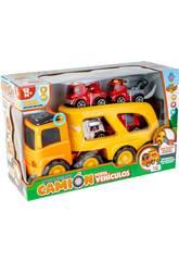 Camión Portavehículos con 4 Vehículos de Emergencias, Luz y Sonido