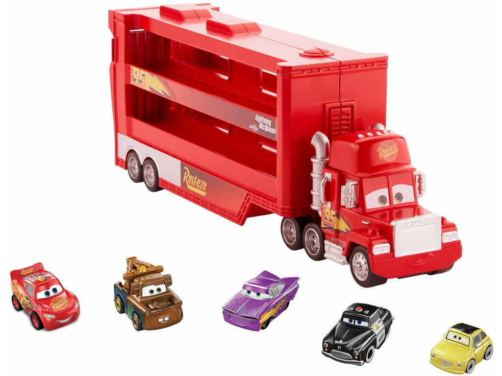 Cars Camión Mack Miniracer + 5 Coches Mini Racers Mattel GWN55