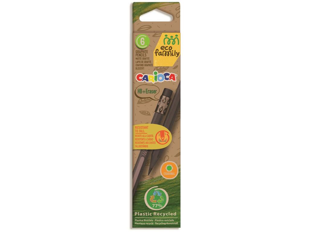 Pack Lápiz HB Eco 6 con Goma de Borrar Carioca 43091