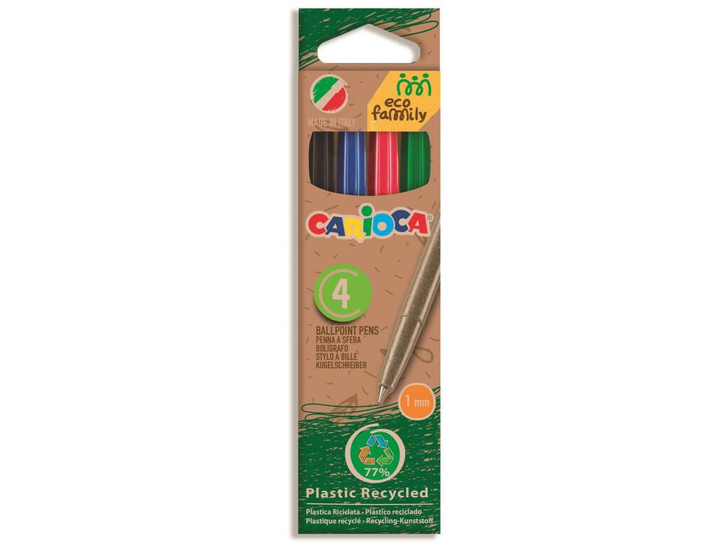 Pack Bolígrafos Eco Caja 4 Colores Carioca 43102