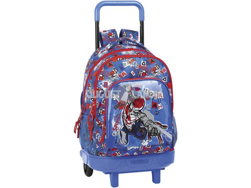 Mochila con Ruedas Compact Extraíble Spiderman Safta 612043918