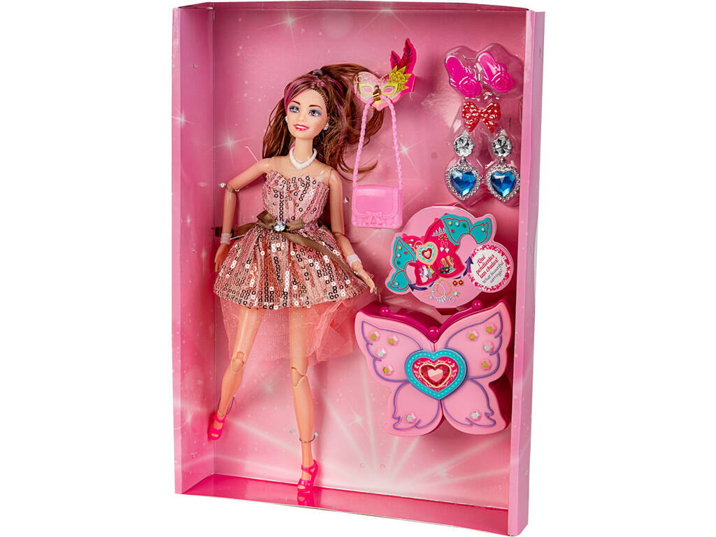 Muñeca Lucy Maniquí 30 cm. con Accesorios Corpiño Rosa