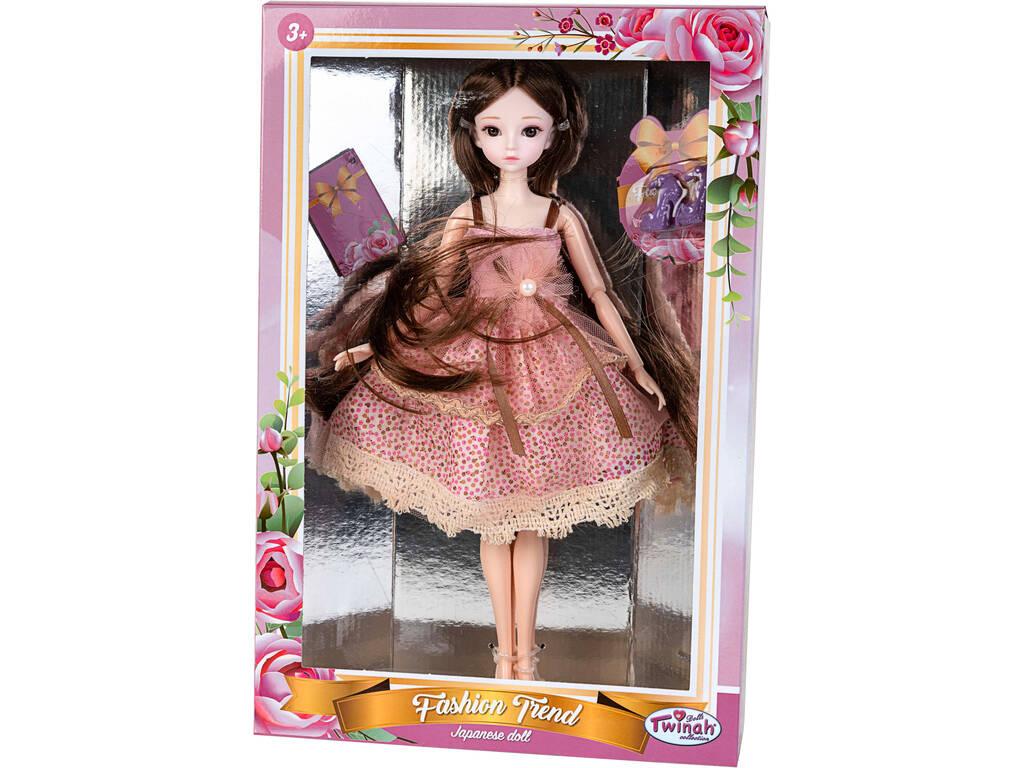 Muñeca Estilo Japón 29 cm. con Vestido Rosa Manchas