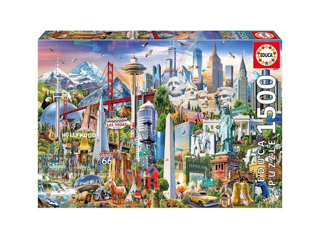 Puzzle 1500 Símbolos de Norteamérica Educa 17670