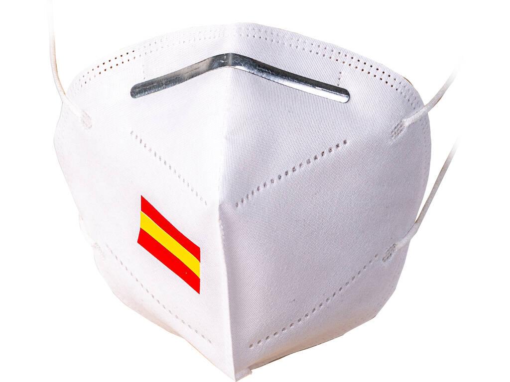 Mascarilla Blanca Bandera Española Adulto Kamabu 1