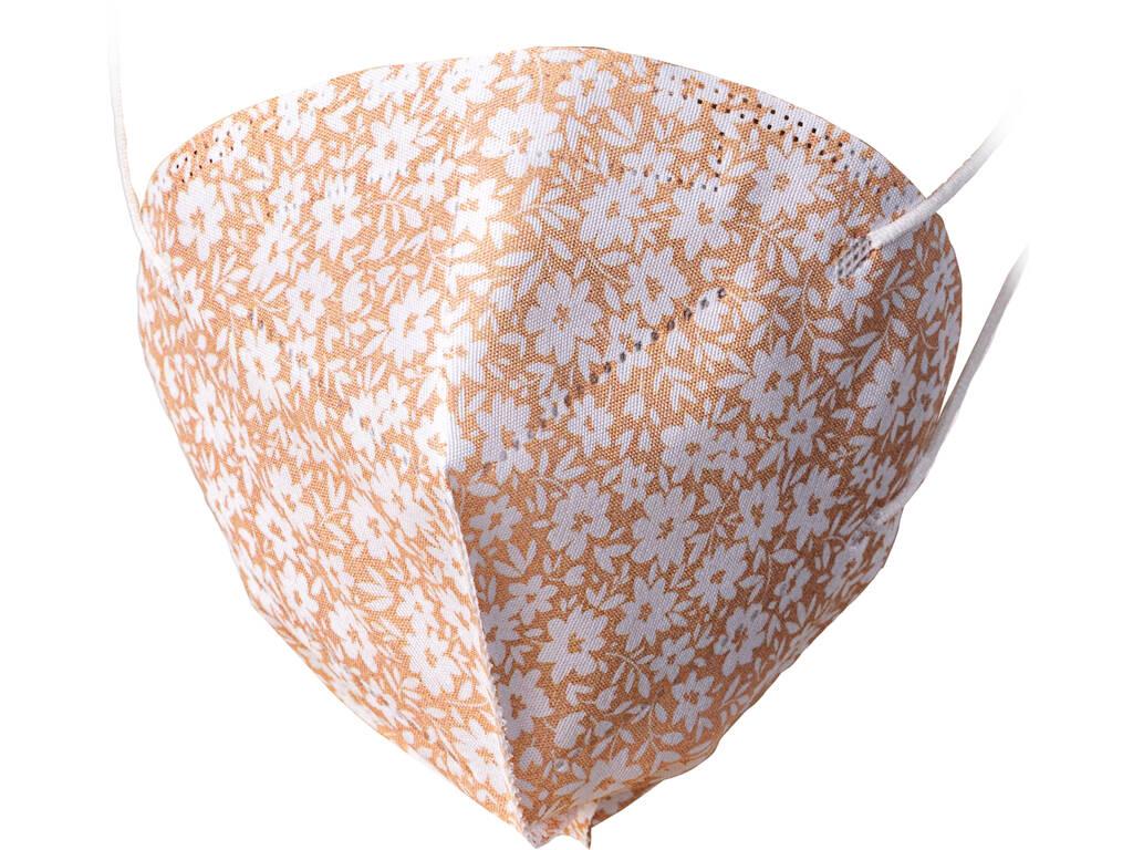 Mascarilla Flores Blancas Sobre Fondo Beige Adulto Kamabu 10