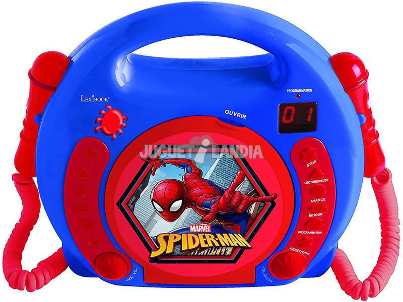 Spiderman Leitor CD Portátil com 2 Microfones Lexibook RCDK100SP