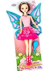 Feenpuppe 30 cm. Rosa und Violettes Kleid