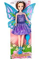 Feenpuppe 30 cm. Violettes und silberndes Kleid