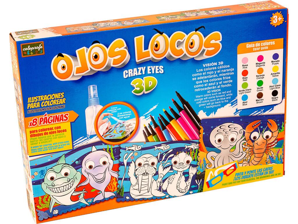 Ojos Locos 3D Ilustraciones para Colorear Animales