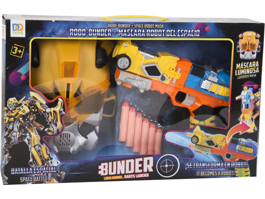Pistola Lanzadardos Transformable Naranja con Máscara
