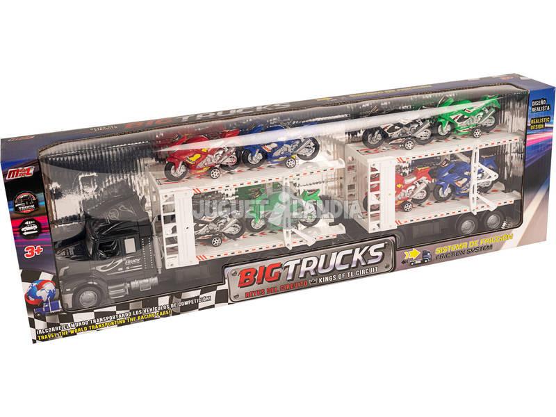 Camión Portamotos Negro con Remolque y 8 Motos
