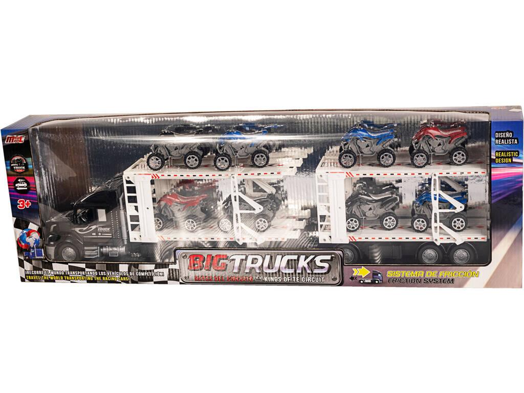 Camión de Transporte Negro con Remolque y 8 Quads