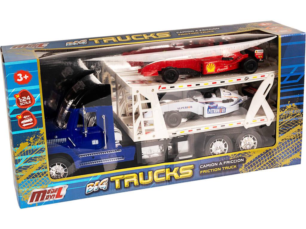 Camión Portacoches Azul con 2 Fórmula 1