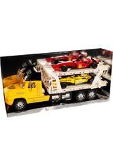 Camión Portacoches Amarillo con 2 Fórmula 1