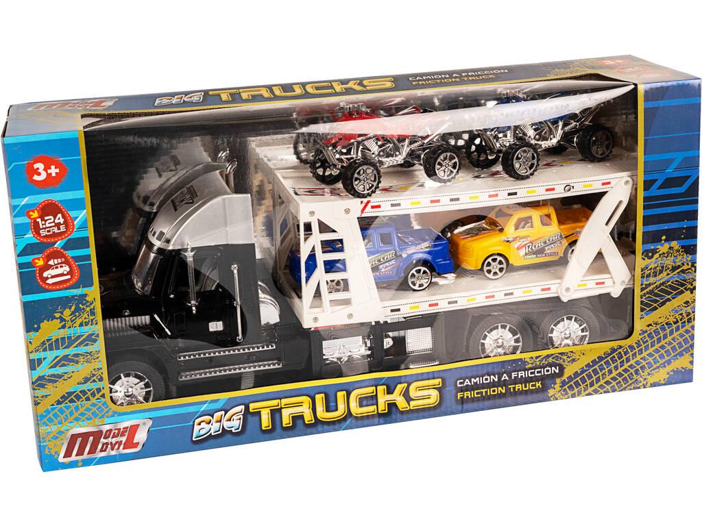 Camión Portacoches Negro con 2 Camionetas y 2 Quad