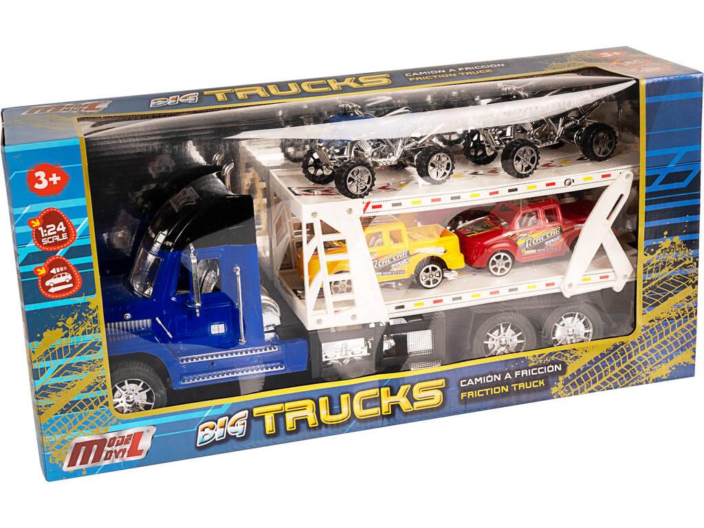 Camión Portacoches Azul Con 2 Camionetas y 2 Quad