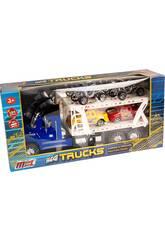 Camion Porte-voitures Bleu Avec 2 Camionnettes et 2 Quads