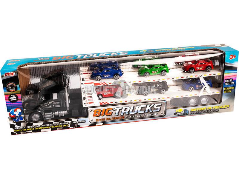 Camión Portacoches Negro con 6 Coches