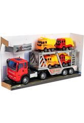 Camion de Friction Rouge 29 cm. Porte-véhicules avec 4 Véhicules de Construction