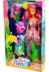 Muñeca Sirena 30 cm. con Cola Rosa