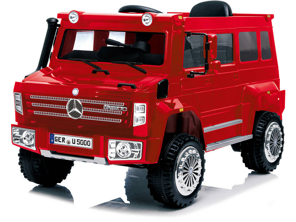 Camión Batería Mercedes Benz Unimog U5000 Radio Control 6 v. Rojo