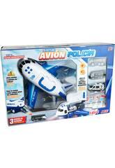 Avión Policía Maleta Porta Coches con 3 Vehículos y Accesorios