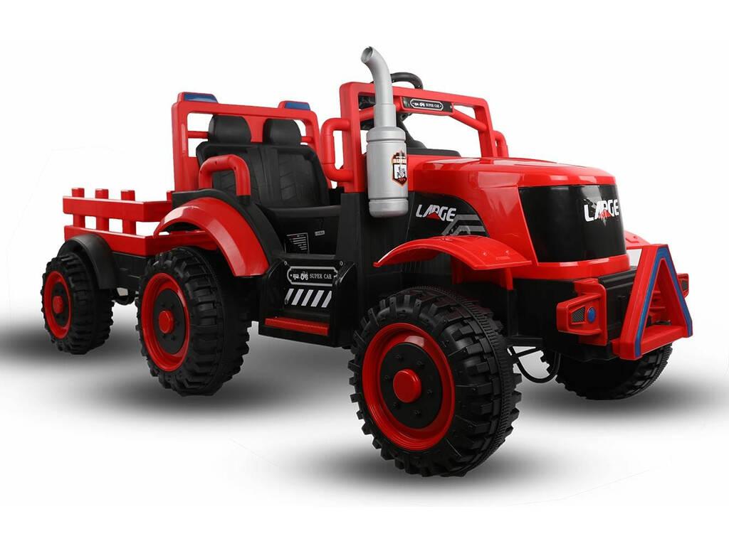 Tractor Batería con Remolque, Luz y Música 12V. Radio Control
