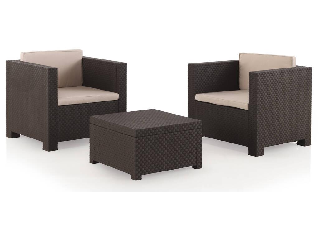 Muebles Jardín Set Diva Tete a Tete Wengué SP Berner 55134