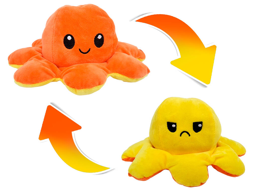 Peluche Pulpo Reversible Estado de Ánimo 20 cm. Naranja y Amarillo