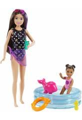 Barbie Skipper con Piscina y Niña Mattel GRP39