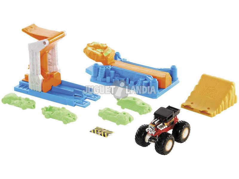 Hot Wheels Vehículos Monster Truck Set Juego Explosión de Coches Mattel GVK08