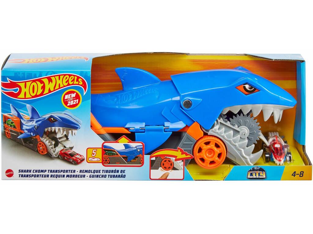 Hot Wheels Remolque de Tiburón de Transporte Mattel GVG36