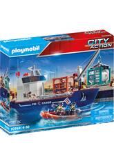 Playmobil City Action Gran Buque Portacontenedores con Barco Aduanero 70769