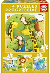Puzzle Progresivos 12-16-20-25 Animales Salvajes de Educa 17147