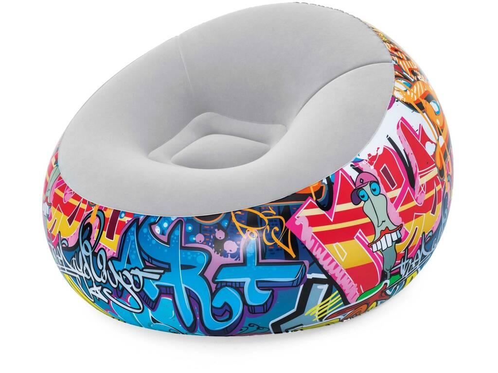 Chaise Longue Gonflable Graffiti 112x112x66 cm. Bestway 75075