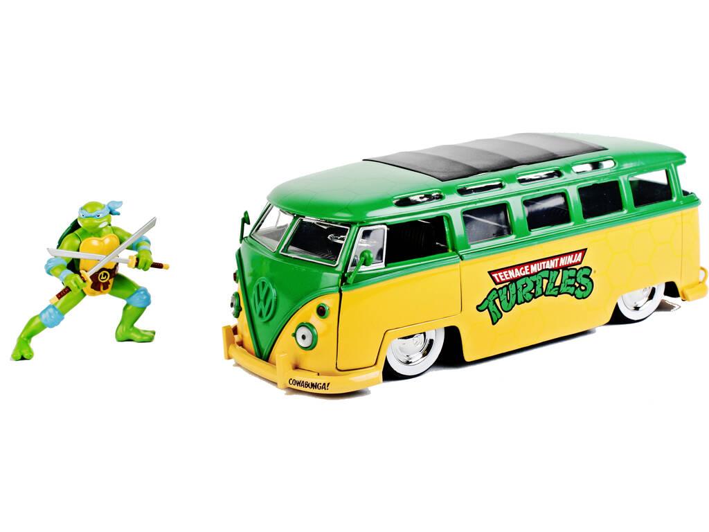 Tortugas Ninja 1962 Volkswagen Bus 1:24 con Figura Leonardo Simba 253285000