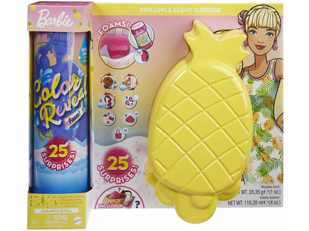 Barbie Muñeca Color Reveal con Espuma Piña Mattel GTN17
