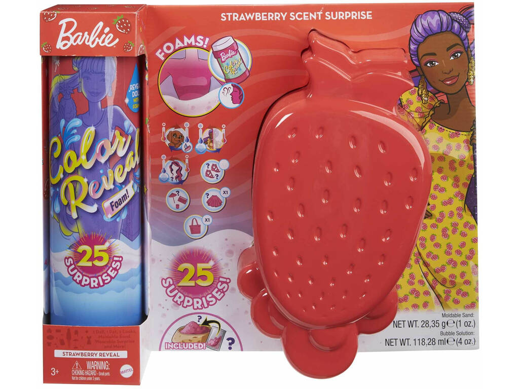 Barbie Muñeca Color Reveal Con Espuma Fresa Mattel GTN18