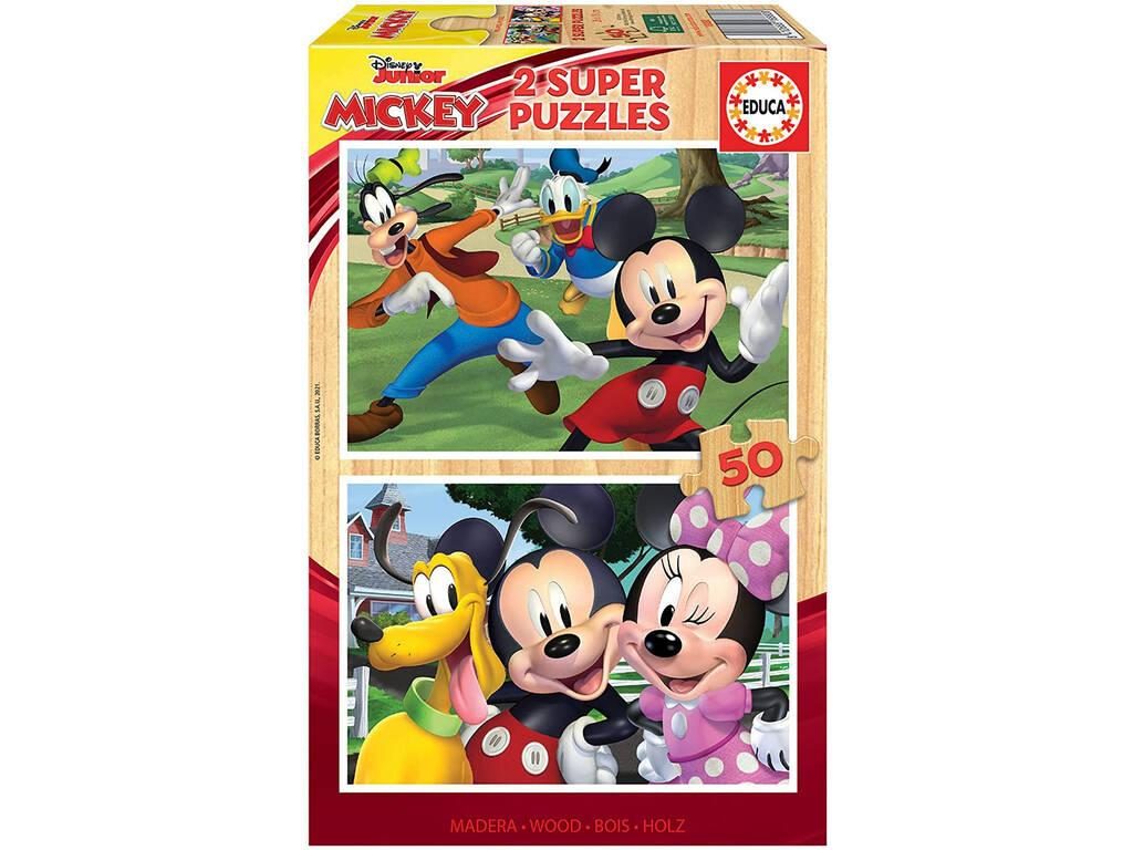 Puzzle Madera 2x50 Mickey & Friends Educa 18880