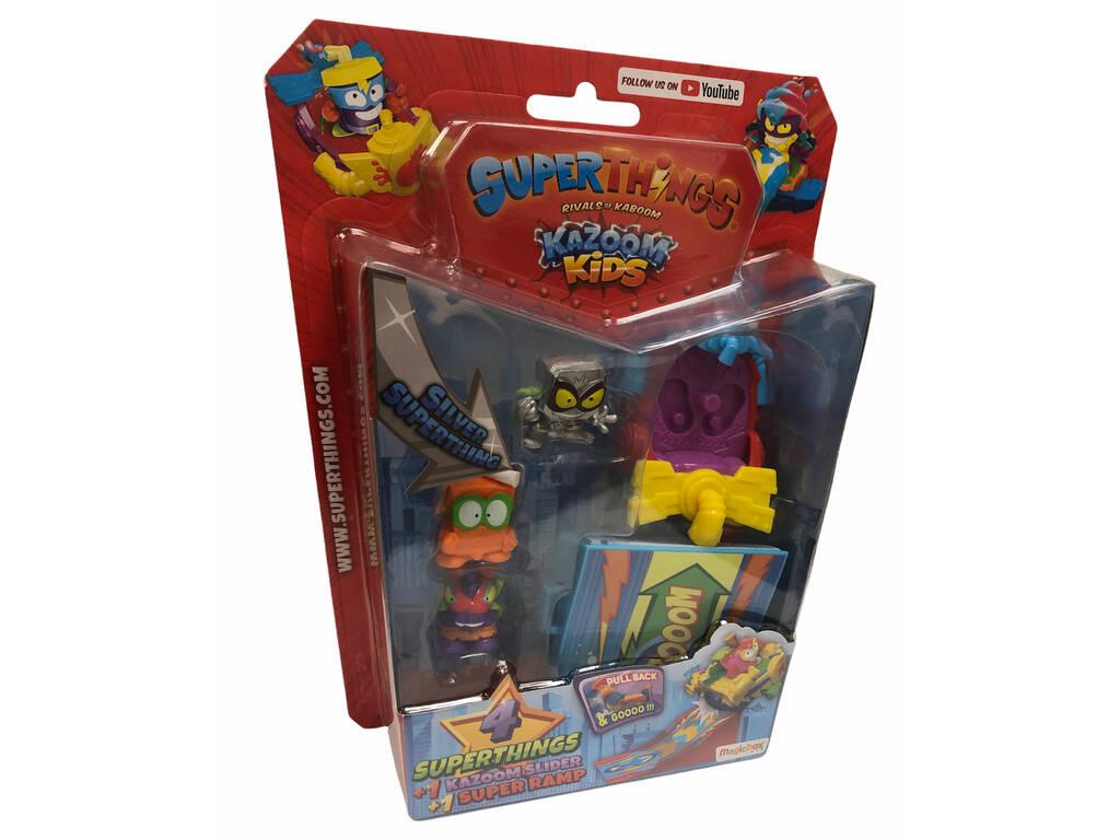 Superthings Kazoom Kids Blister 4 Figuras Kazoom, Sliders y Rampa Magic Box PST8B416IN00