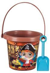 Set seau de plage Pirate brillant 15 cm. avec pelle Aremar 6644