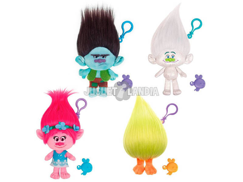 Trolls Pack 4 Super Peluches Chaveiro