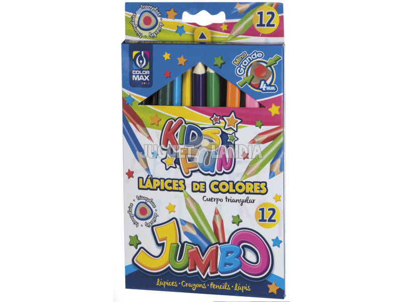 Set 12 Lápices De Colores Triangulares Jumbo