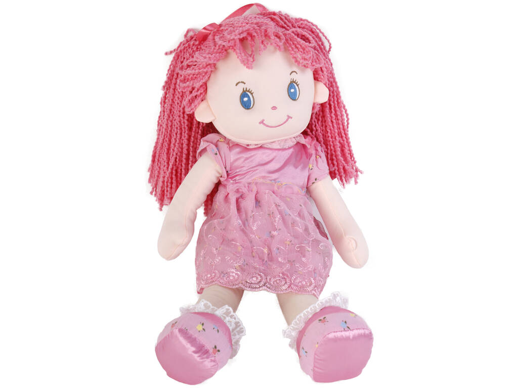 Bambola in tessuto 50 cm capelli rosa