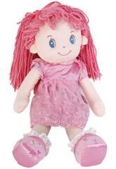 imagen Bambola in tessuto 50 cm capelli rosa