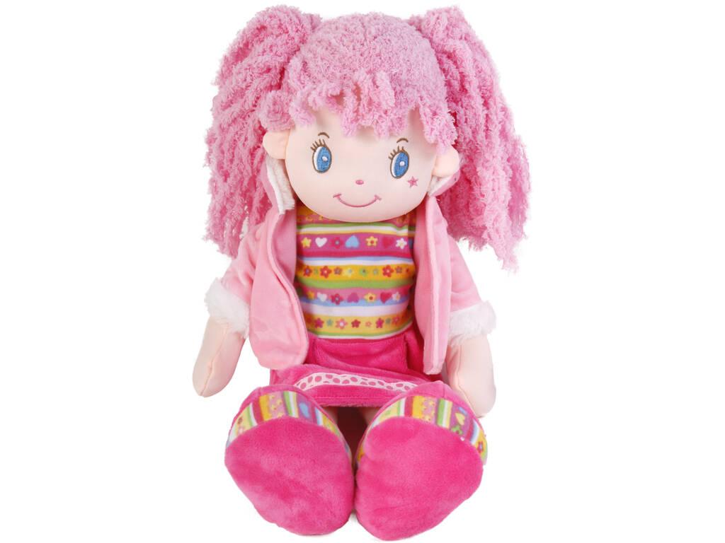 Muñeca de Trapo 45 cm. Coletas Rosa
