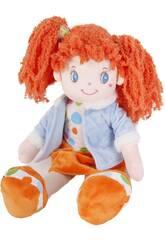 Muñeca de Trapo 45 cm. Coletas Naranja