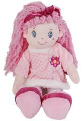 Bambola in tessuto 45 cm capelli rosa e fiocco